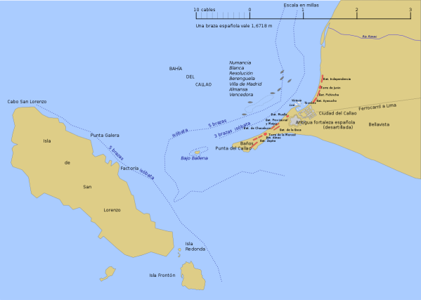 Mapa del Combate del Callao del 2 de mayo de 1866. Wikipedia