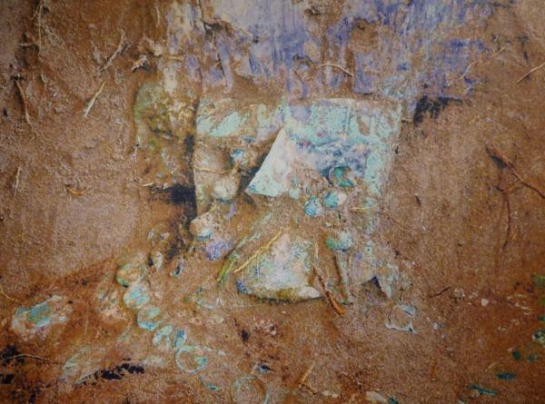 Rostro cubierto de la sacerdotisa de Chornancap al descubrirse el fardo. Museo Brüning.