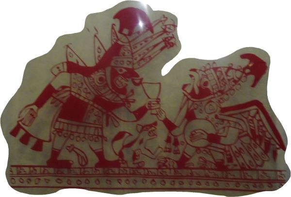 Libación de la sangre.  Ilustración cerámica. Museo Cao