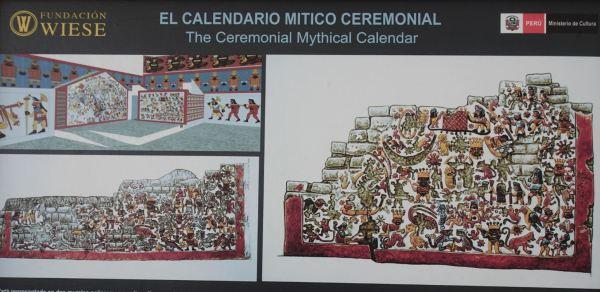 Reconstrucción del muro de tema complejo o ritual. Cao Viejo. Museo Cao