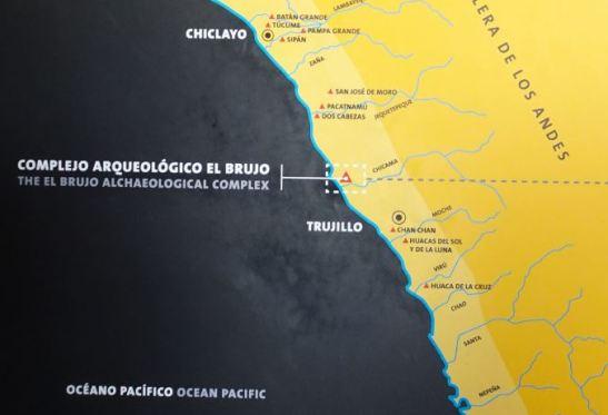 Ubicación de la Huaca de Cao Viejo (Complejo de El Brujo) y de Chan Chan.