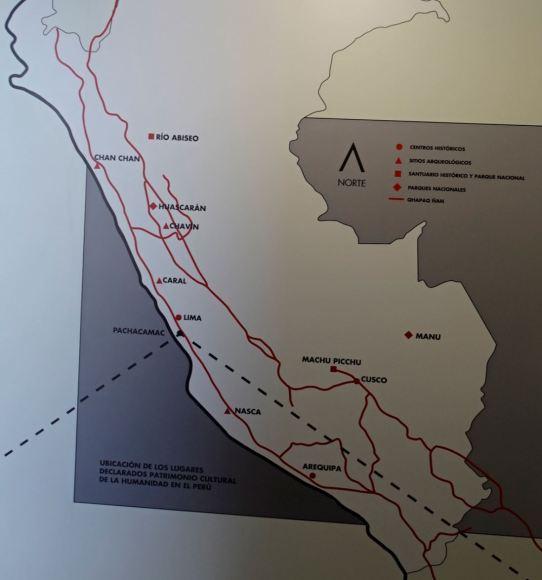 Mapa del emplazamiento del Santuario de Pachacamac. Museo del sitio.