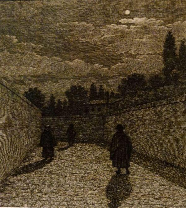 Christoffer Wilhem Eckersberg. Claro de luna en una calle. 1838. Museo Nacional de Arte de Copenhagen..