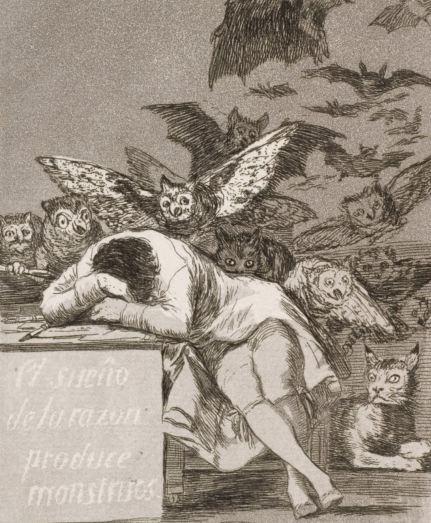 El sueño de la razón. Detalle del grabado. Los Caprichos de Goya