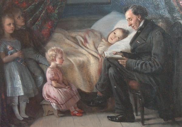 H.C.Andersen leyendo El ángel a sus hijos. Elisabet Jerichau-Baumann. 1862.