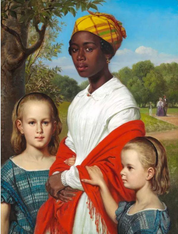 Wilhelm Marstrand. Las hijas del hermano con su niñera Justina. 1857. M. N.. Copenhagen