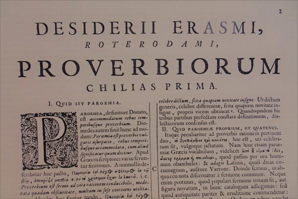 Erasmo. Inicio de la Colección de adagios. Edición de Clericus, 1703- Foto R.Puig