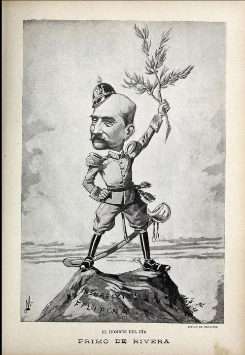 Eduardo Sáenz Hermúa, caricatura del Marqués de Estella aparecida en Blanco y Negro en 1897