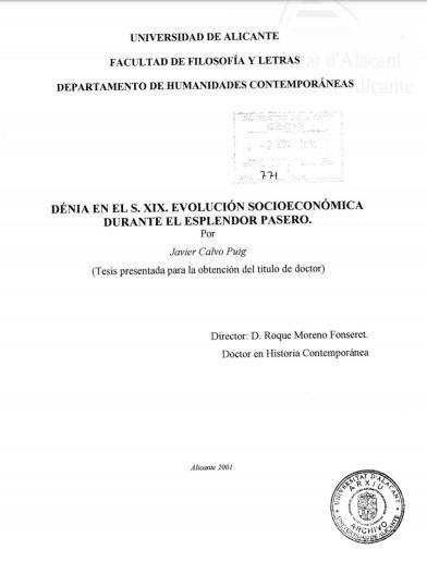Denia en el s.XIX Javier Calvo Puig Tesis 2001