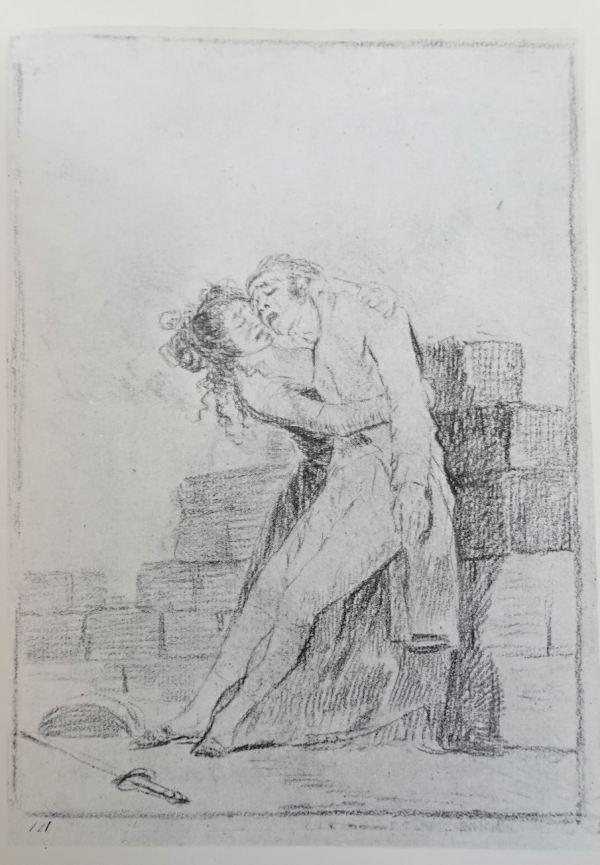 Goya. El amor y la muerte. Dibujo para los Caprichos h.1797