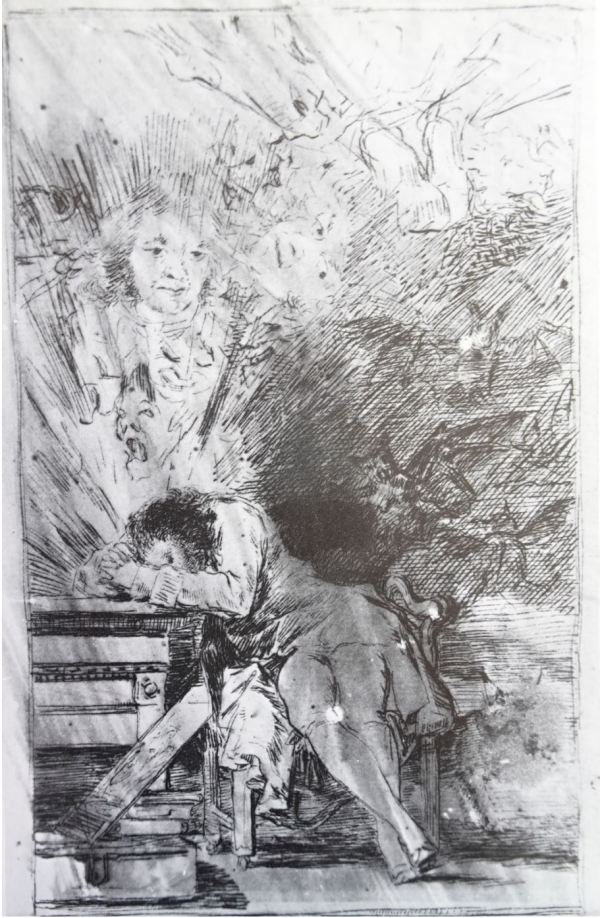 Goya. El sueño de la razón. Dibujo a pluma para los Caprichos h.1797