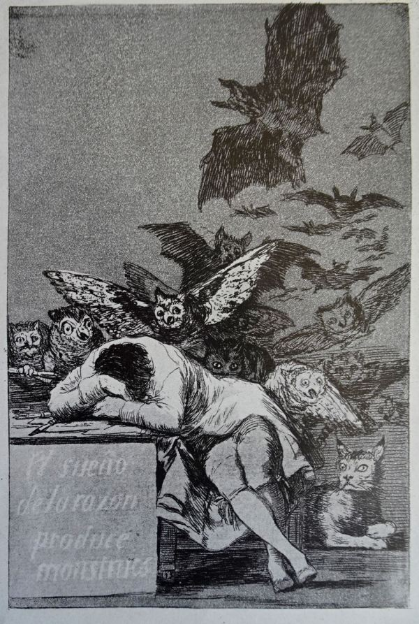 Goya. El sueño de la razón. Grabado de los Caprichos h.1799