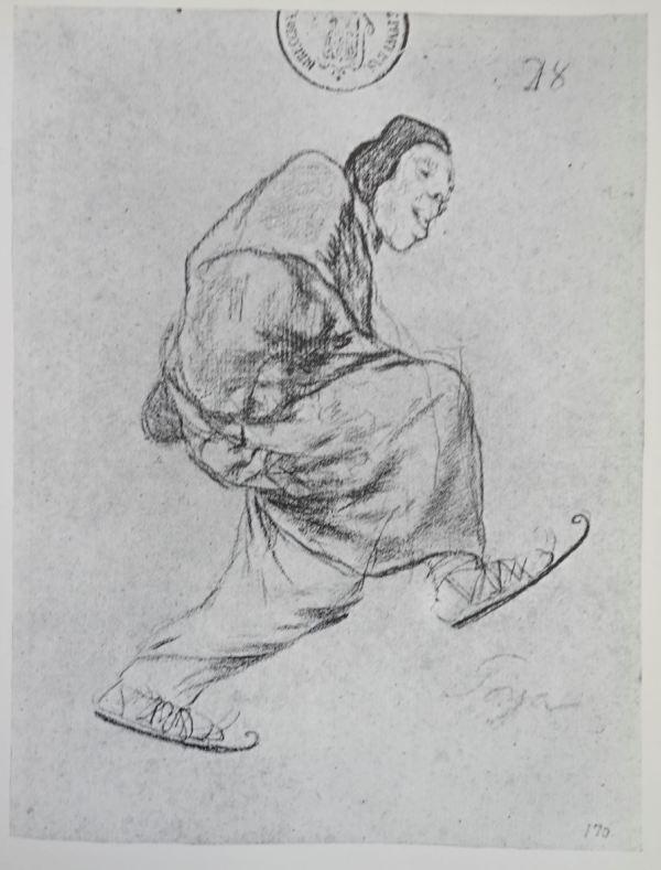 Goya. Lego patinando. Dibujo. h.1825