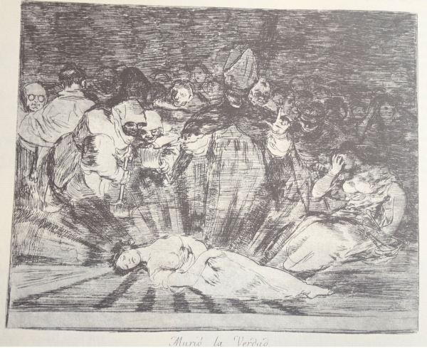Goya. Murio la verdad.Grabado de Desastres de la guerra. h.1810