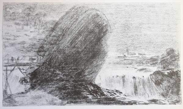 Goya. Paisaje con cascada. Dibujo (original a sanguina). Fecha incierta anterior a 1818