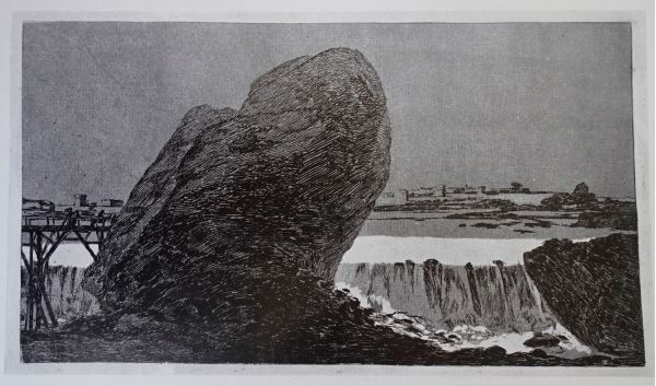 Goya. Paisaje con cascada. Litografía. Fecha incierta anterior a 1818