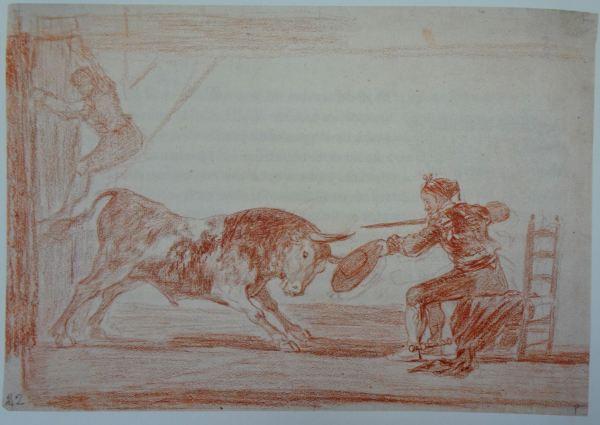 Goya. Temeridad de Martincho en la plaza de Zaragoza. Dibujo a la sanguina.1815