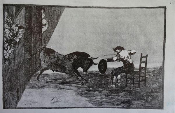 Goya. Temeridad de Martincho en la plaza de Zaragoza. Litografía.1816