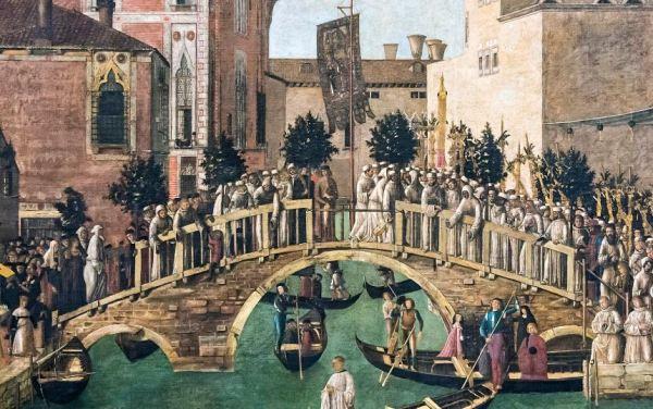 Gentile Bellini. El milagro de la cruz del canal de San Lorenzo. Detalle. Wikipedia Commons