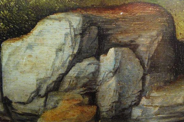 Joachim Patinir. Detalle de rocas en Predicación de San Juan Bautista , ca. 1516 a 1518. Museo de Filadelfia