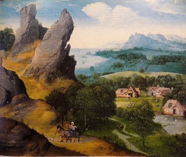 Joachim Patinir. Paisaje con la huida a Egipto, ca. 1516 a 1517