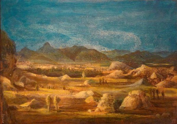 Juan Carlos Savater. Desierto, óleo sobre madera 2019. Foto R.Puig
