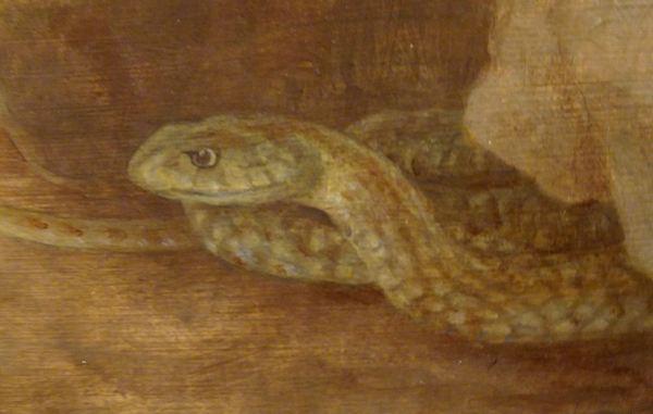 Juan Carlos Savater. Puertas del Edén, óleo sobre madera 2019, la serpiente. Foto R.Puig