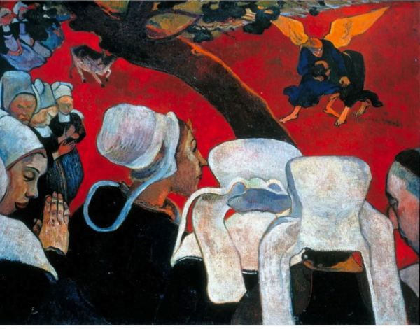 Paul Gauguin, Después del sermón, Lucha de Jacob con el ángel.