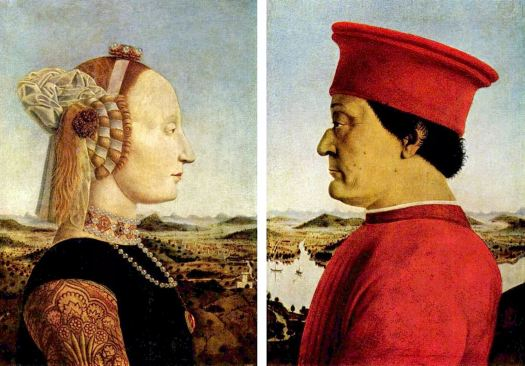 Piero della Francesca, Federico di Montefeltro y su esposa Sforza, Los Uffizi, Florencia