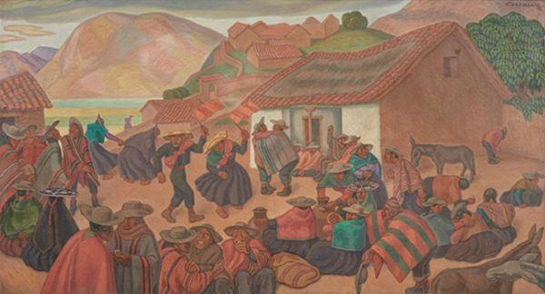 Camilo Blas. Fiesta serrana. Óleo. Banco Central de la Reserva. Lima.