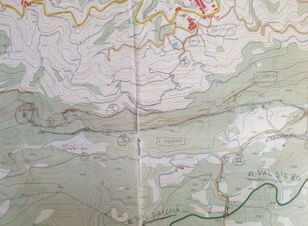 Dos rutas a la Foradada. Mapa del Instituto Cartográfico de Valencia CV10. Detalle.Foto R.Puig
