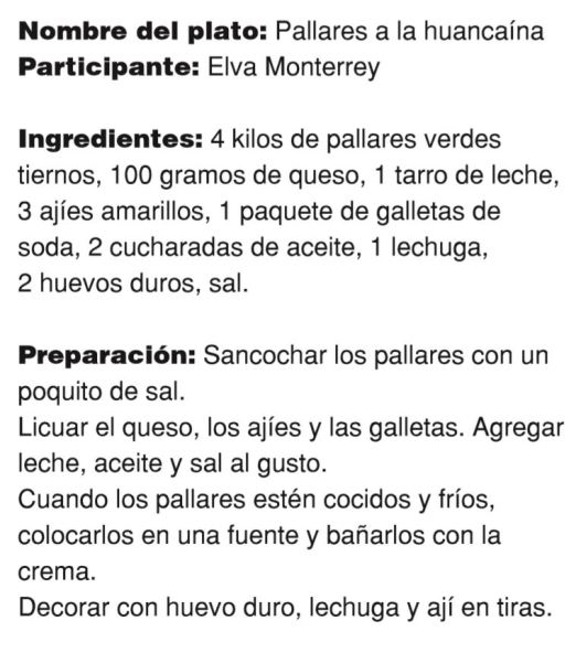 Pallares a la huancaina de Elva Monterrey.Receta. Fuente op. cit.pag.