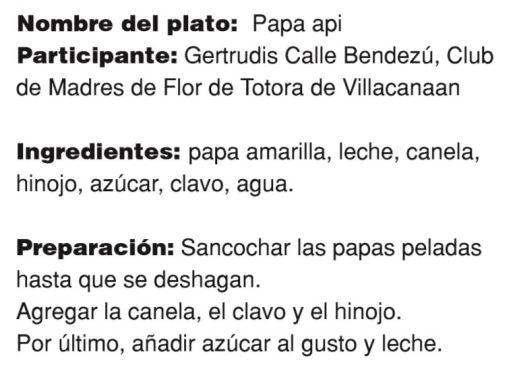 Papa api de Gertrudis Calle Bendezú. Receta