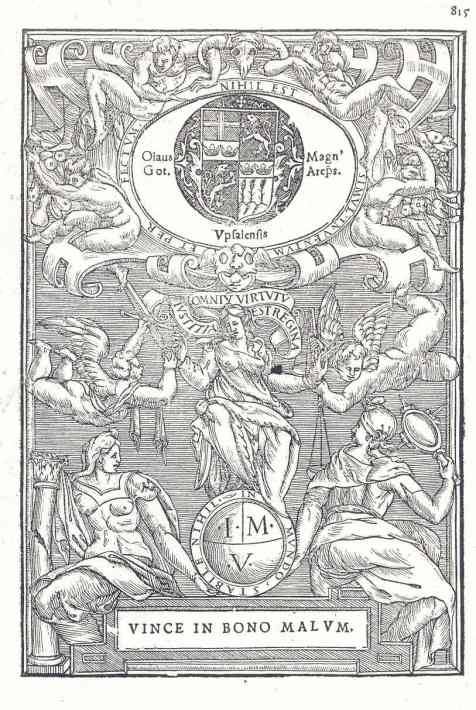 Escudo y lema de Olaus Magnus arzobispo sueco exiliado. Roma, 1555