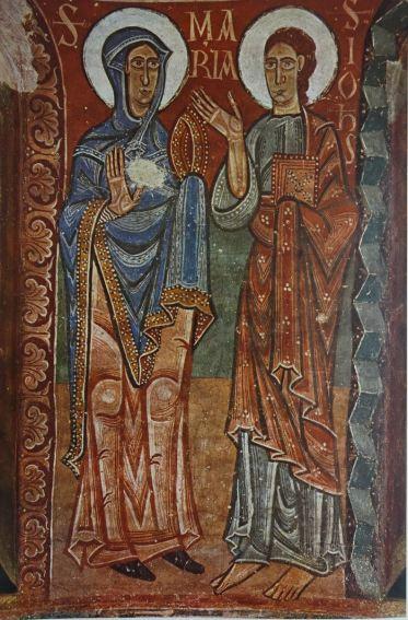 La Virgen y San Juan. Fresco del ábside de Pedro en la Seo de Urgel. s.XII. Museo de Arte de Cataluña.