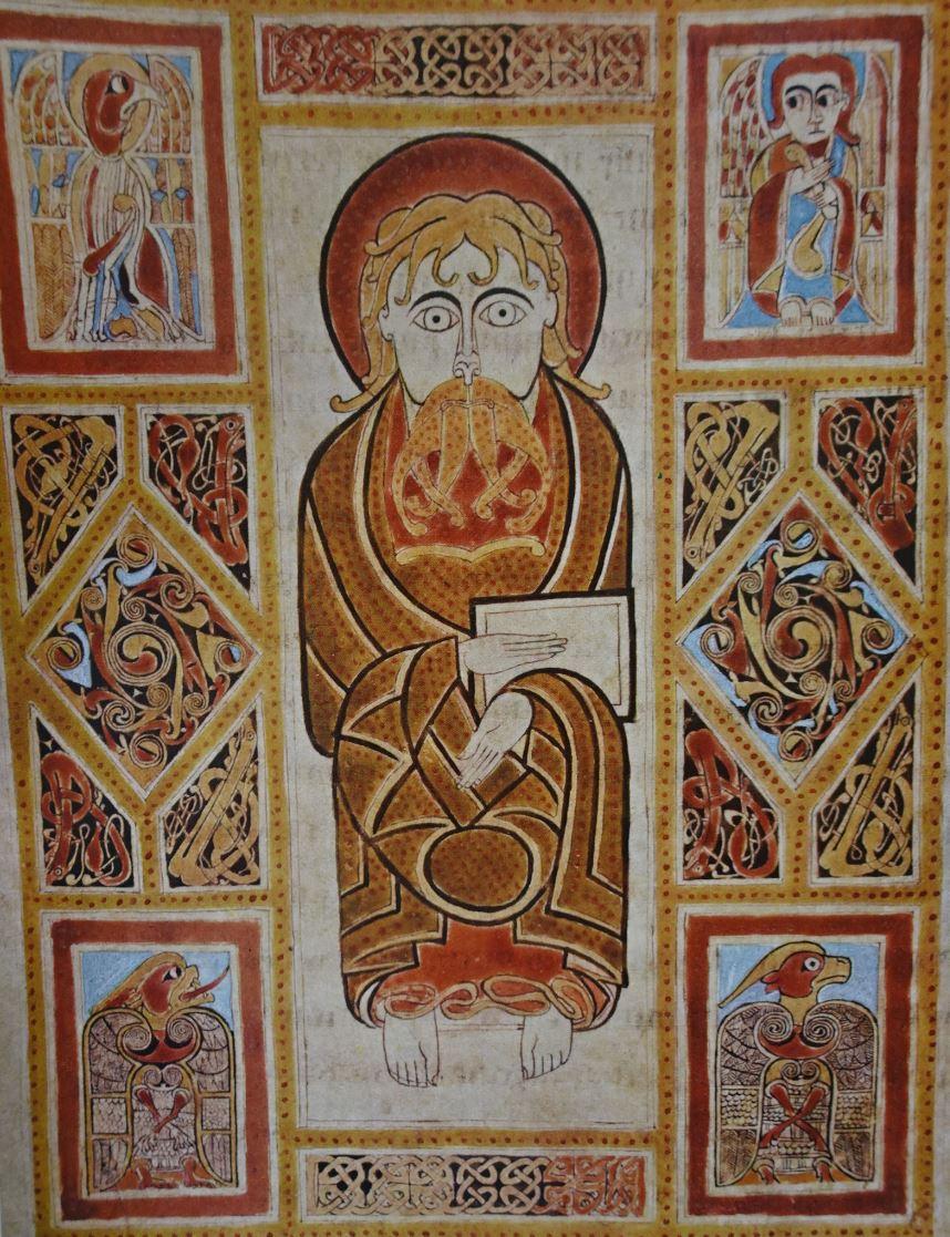 San Marcos y los símbolos de los cuatro evangelistas. Evangeliario Irlandes. Biblioteca Conventul de Sant Gall