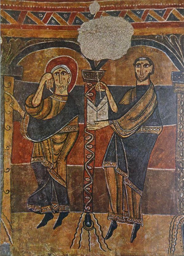 Zacarías y el escriba. Fresco h.1123. Santa María de Tahull. Museo de Arte de Cataluña.
